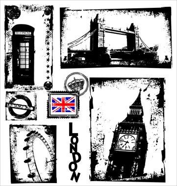 London Landmarks in Grunge Frame