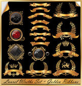 Fotografia set di corone di alloro doro-