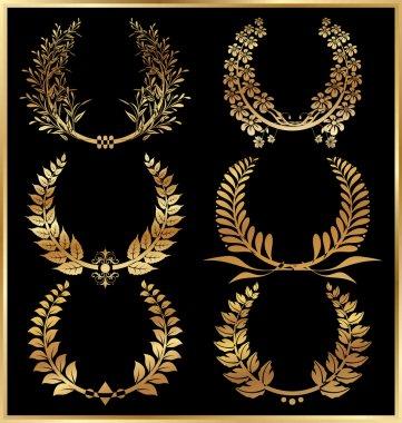 Golden laurel wreaths - Set