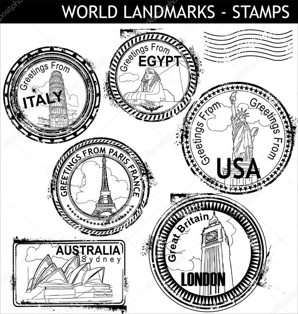 World Landmarks Stamps