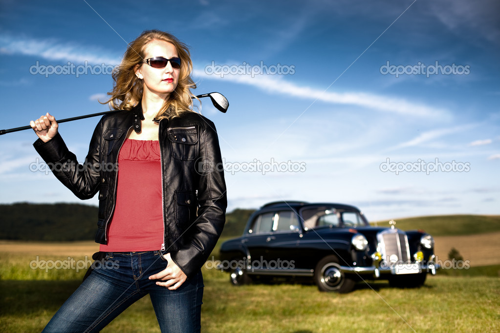 Golf Girl and a classic car