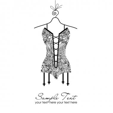 Corset in black & white style