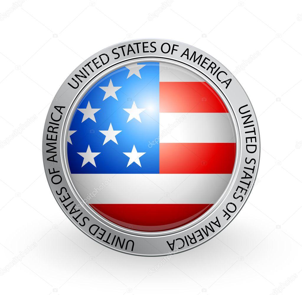 Abzeichen - Flagge der Vereinigten Staaten von Amerika — Stockvektor ...