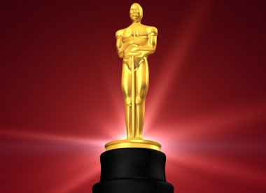 3D rendered film award in red background stock vector