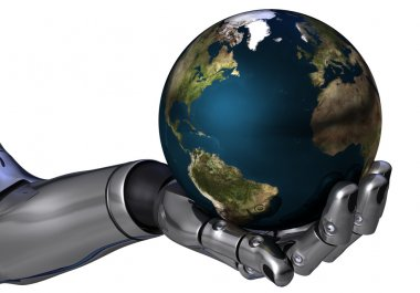 Robot arm holding the earth