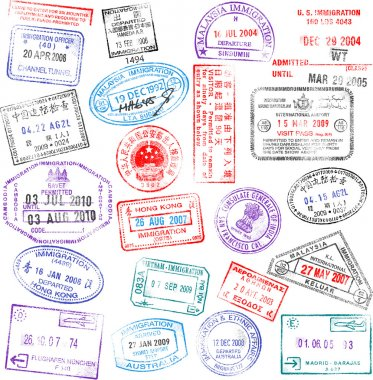 A collection of highly detailed passport stamps, all inspired from real passport stamps, but completely created using Illustrator CS3. clip art vector