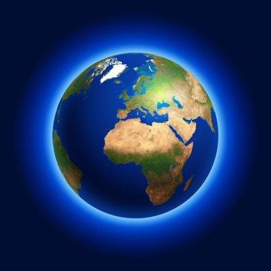 Earth Globe Centered on Europe