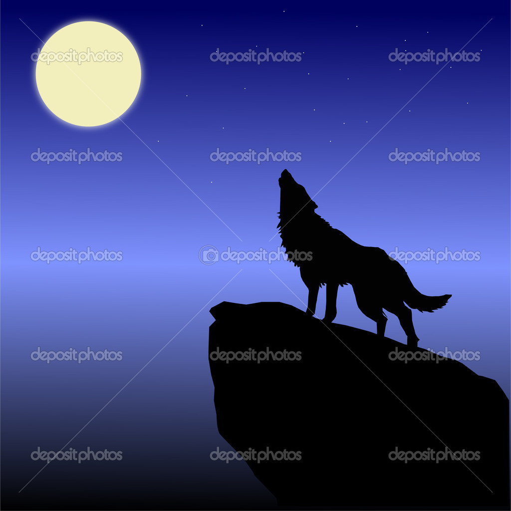 The wolf howls on the moon
