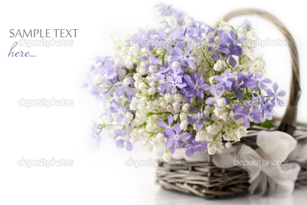 Spring flowers in basket