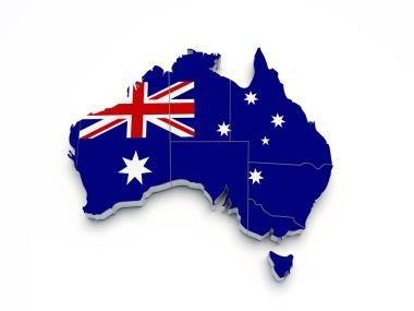 Australia 3D flag map on white