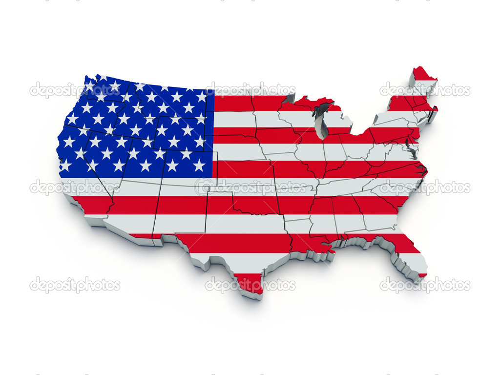 USA Flag Map D Stock Photo Yermek - Us flag map