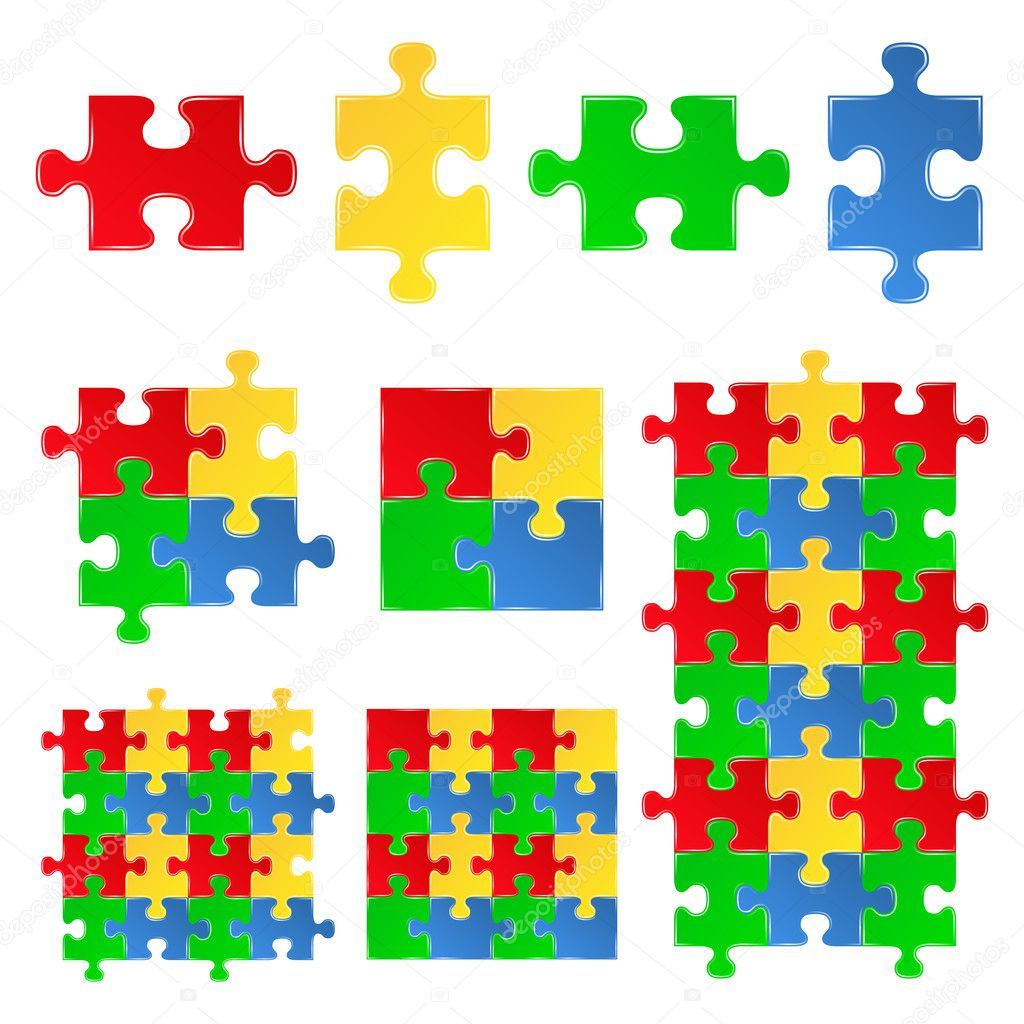 Vector Jigsaw Puzzle Pieces Stock