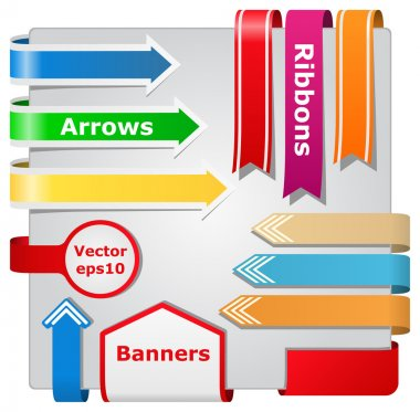 Vector Ribbons, Arrows and Banners