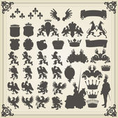 Heraldic silhouettes set of many vintage elements vector background