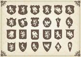 Heraldický siluety sada mnoha historických prvků vektorové pozadí