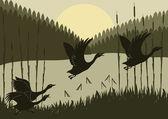 Fotografie animierte fliegende Gänse-Flock im wilden Wald Laub Abbildung