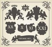 Heraldický siluety sada mnoha vintage prvky vektoru