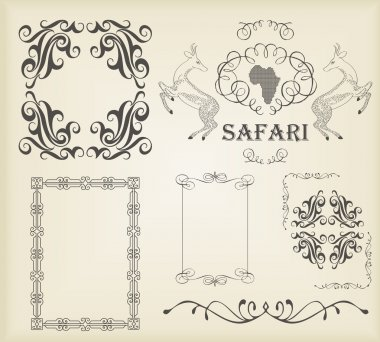 Vintage set of calligraphic elements, frames and borders
