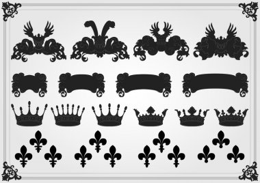 Illustrated vintage lion coat of arms collection