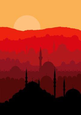 Vintage turkish city Istanbul landscape illustration