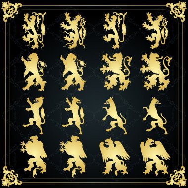 Vintage golden royal coat of arms elements illustration