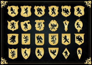 Vintage golden royal coat of arms shields collection illustration