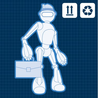 Animated construction site architect assistant robot blueprint plan