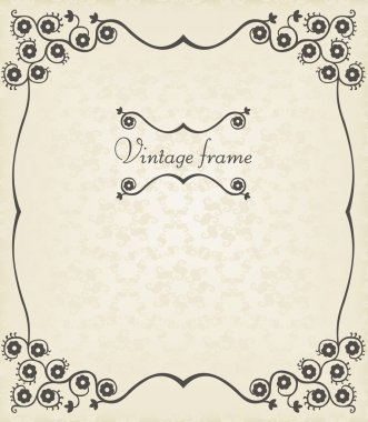 Vintage vector decorative frame for book cover or card background