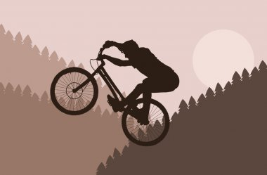 Mountain bike rider in wild nature landscape