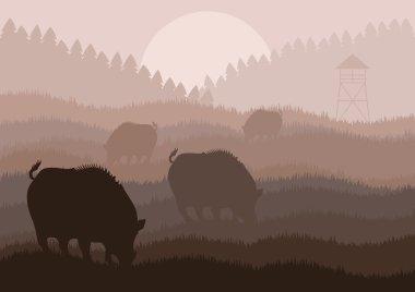 Animated wild boar hunting season foliage illustration