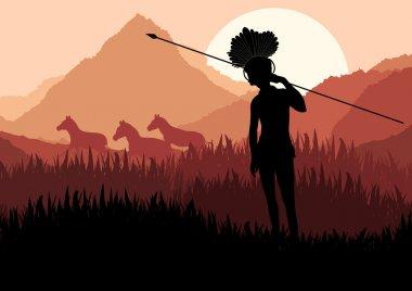 Native african hunter in wild nature landscape illustration