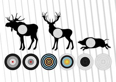 Animated shooting range hunting targets set illustration