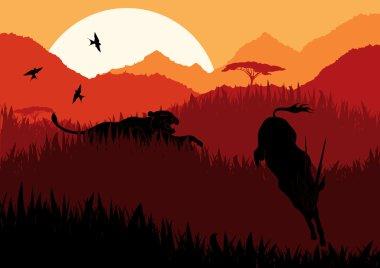 Animated running gazelle in wild africa mountain landscape illustration