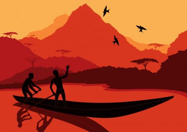 Animated fisherman's in wild nature landscape illustration