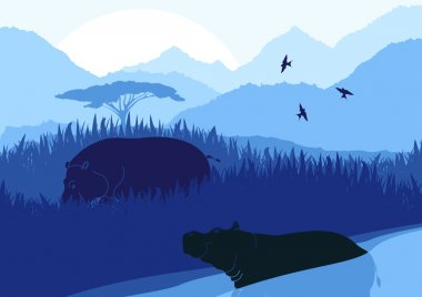 Animated hippopotamus couple in wild nature foliage illustration