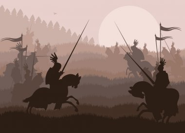 Medieval knight horseman and vintage elements vector background illustratio