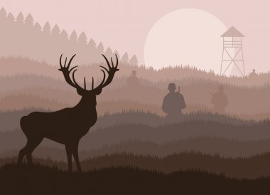 Animated rain deer in wild night forest foliage illustration