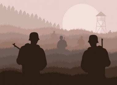 Army guarded oil refinery station or power plant illustration