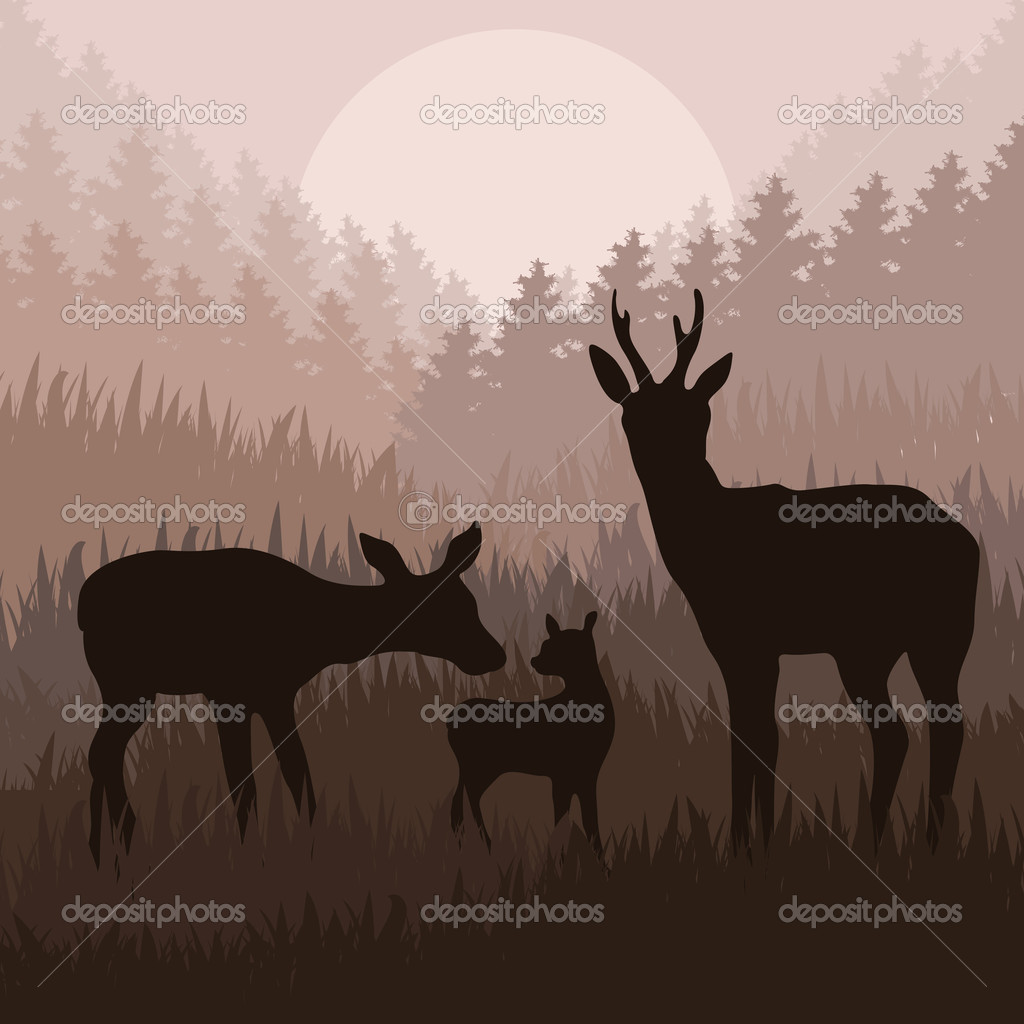 Áˆ Deer Family Silhouette Stock Vectors Royalty Free Doe And Fawn Silhouette Illustrations Download On Depositphotos