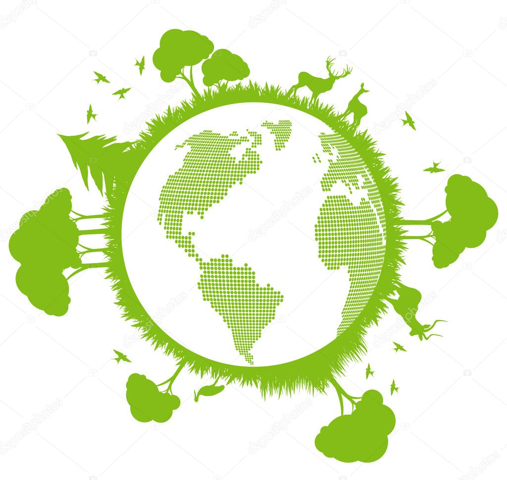 Green and clean ecology earth globe concept vector background