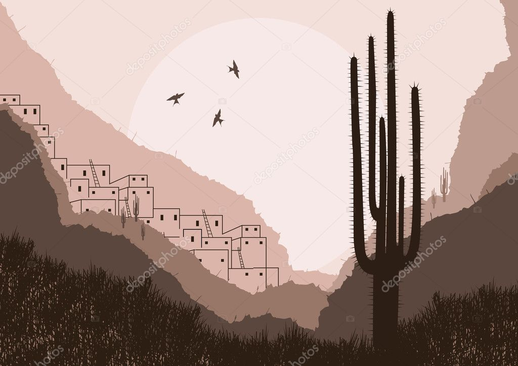 Wild mexican country foliage illustration