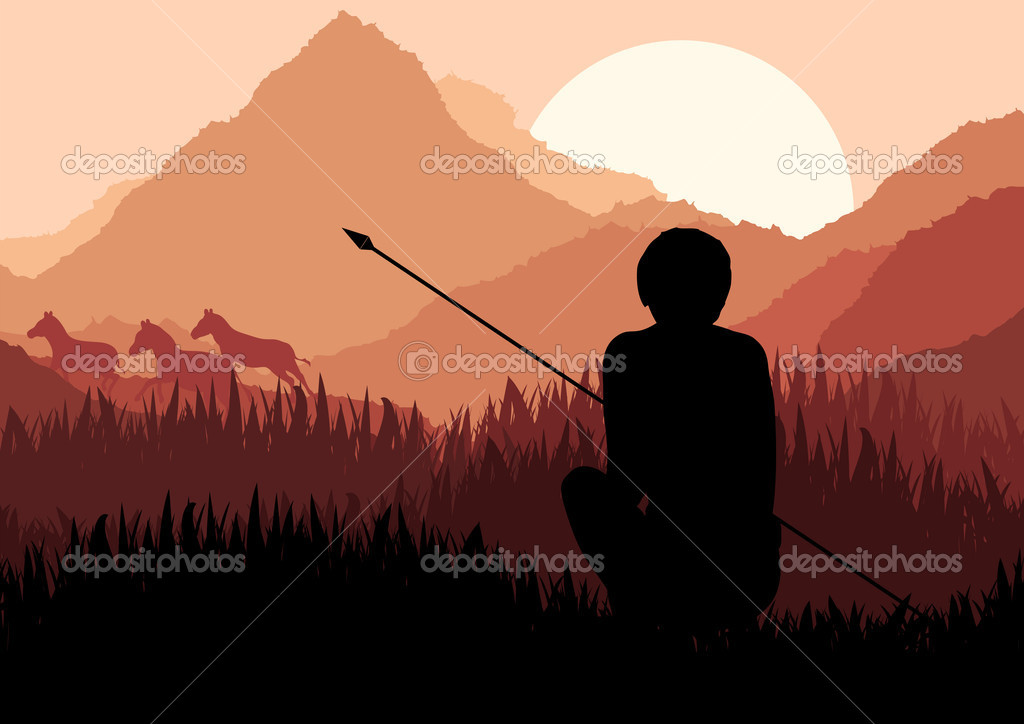 Native african hunter in wild nature landscape illustration