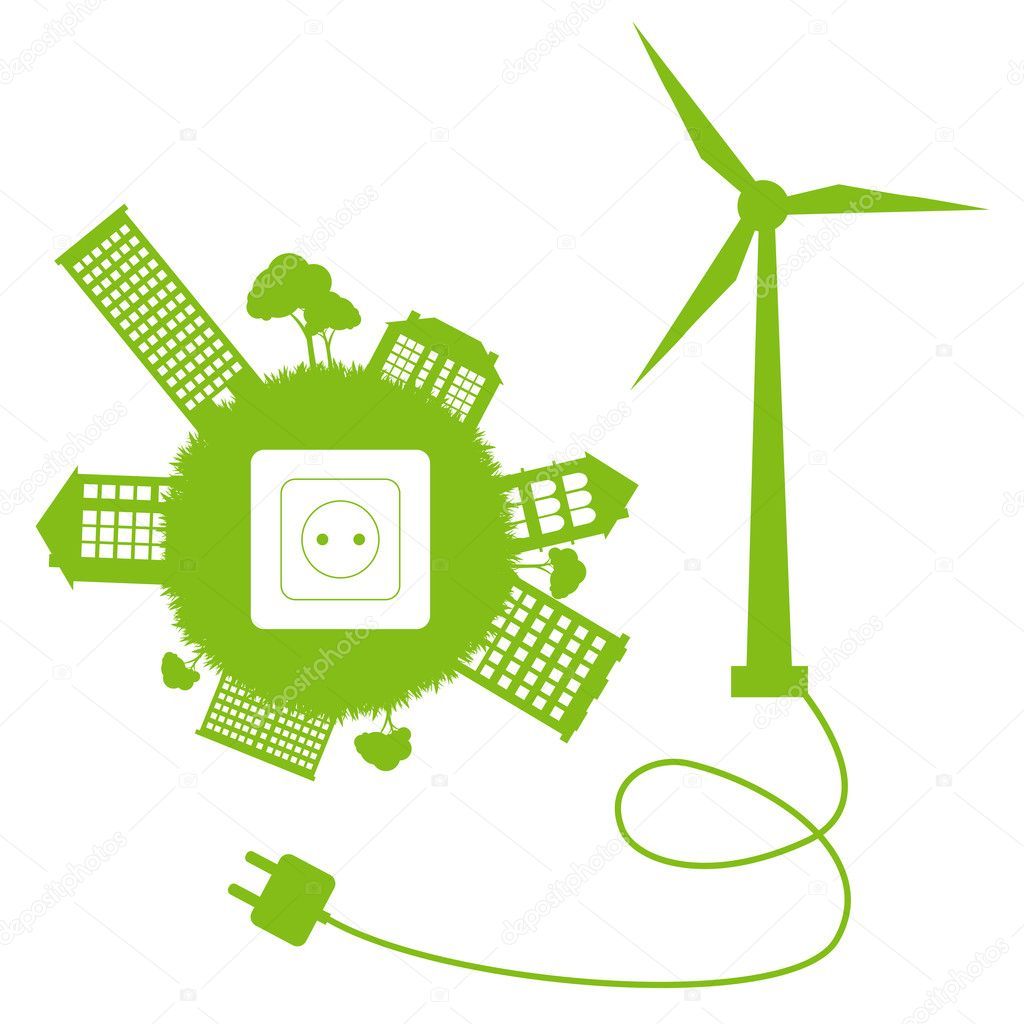 Ecology city and elements background vector concept- wind alternative energ