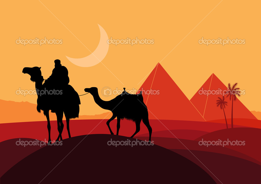 Pyramids and camel caravan in wild africa landscape illustration