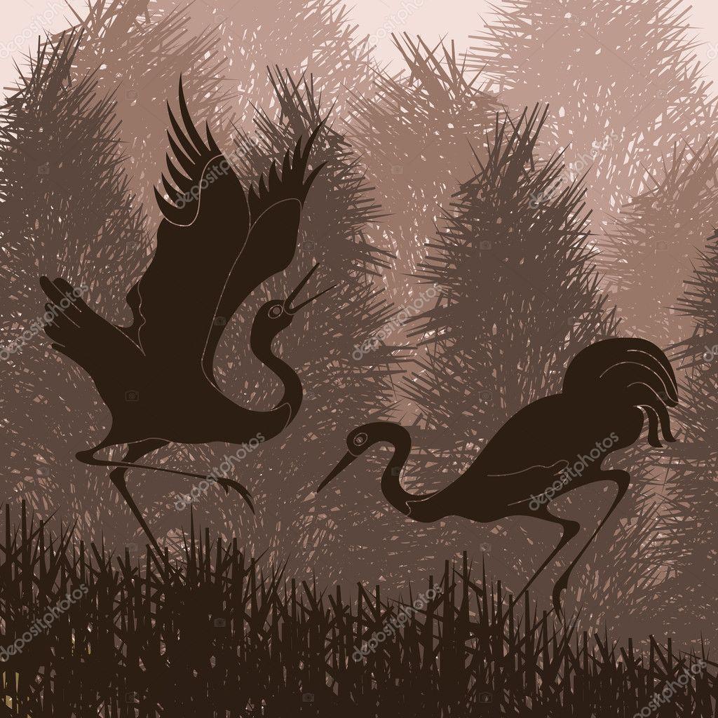 Animated crane couple in wild forest foliage illustration