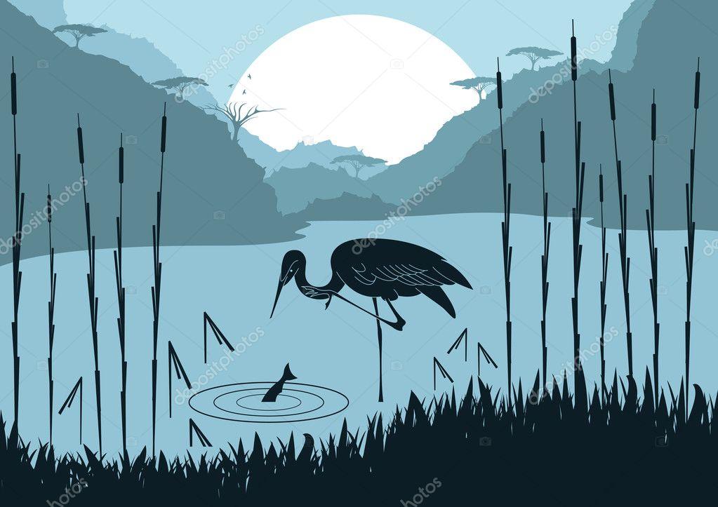 Animated crane couple in wild nature foliage illustration