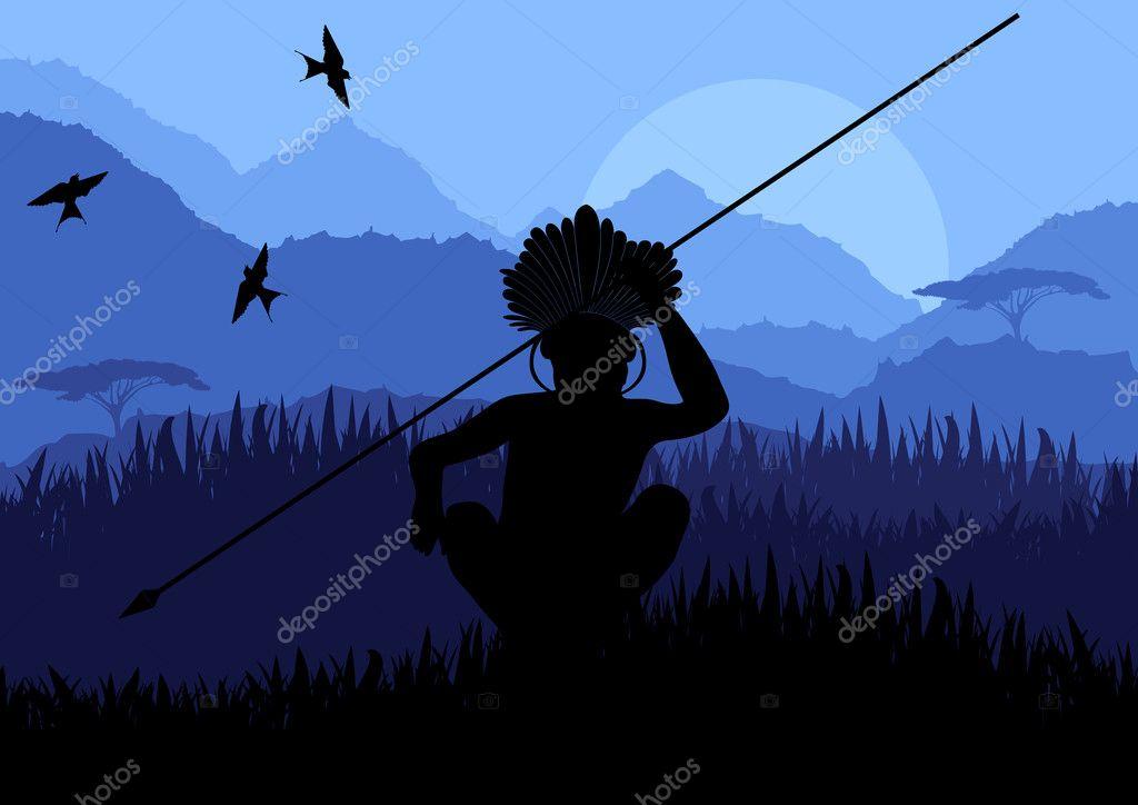 Native african warrior in wild nature landscape illustration