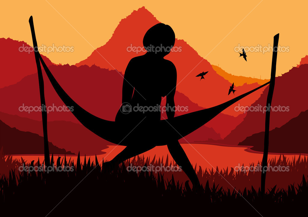 Animated african women lying on a hammock in wild nature landscape illustra