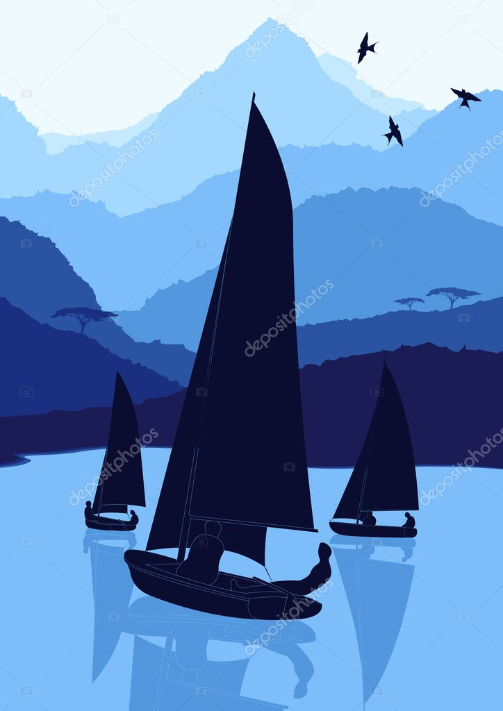 Animated yacht regatta sailing in wild nature landscape illustration