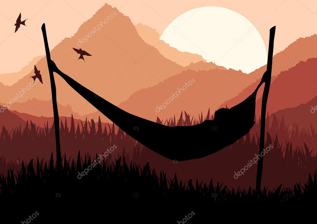 Animated african lying on a hammock in wild nature landscape illustration